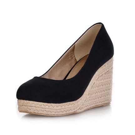 2014 New Sex High Heels Women Platform Wedge Shoes Round Toe Vintage