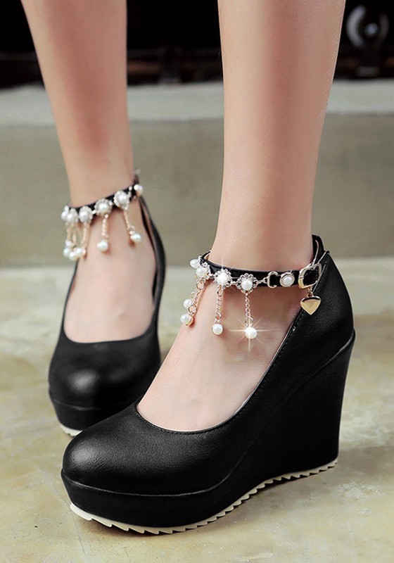 Black Round Toe Pearl Chain Casual Buckle Wedges Shoes - Wedges - Shoes