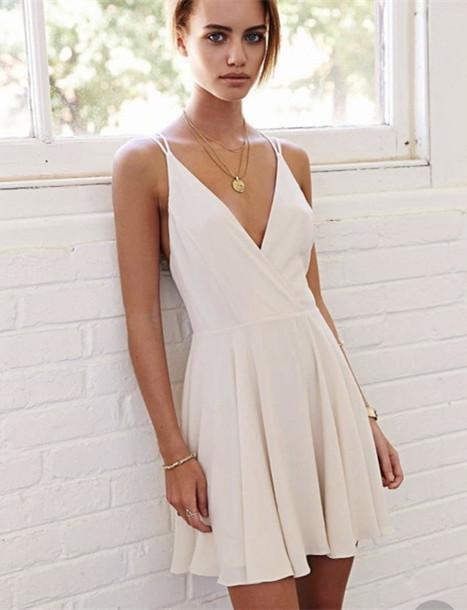 A Line V Neck Short White Prom Dress, Short White Formal Dress