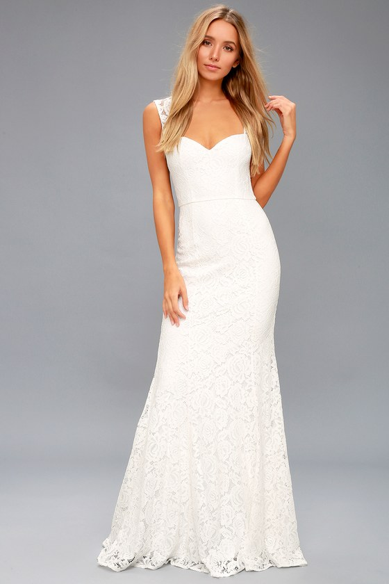 Gorgeous White Lace Dress - Lace Maxi Dress - Mermaid Dress
