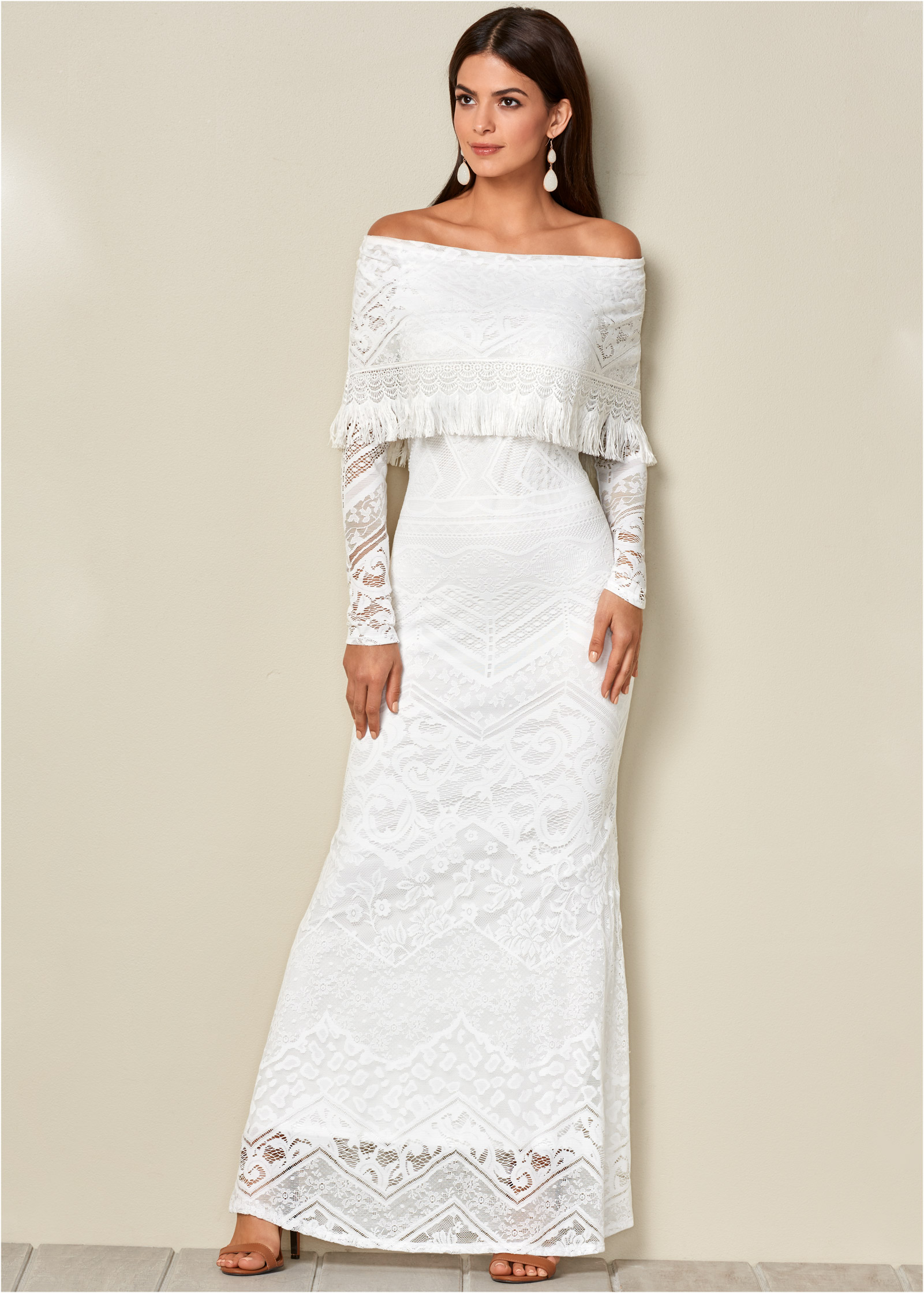 LACE MAXI DRESS in White | VENUS