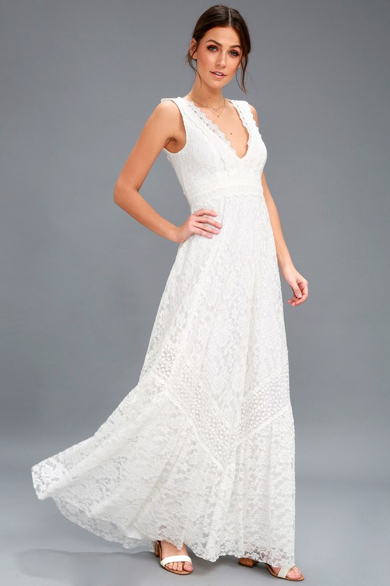 Boho Bridal Dress - White Lace Maxi Dress - Lace Dress