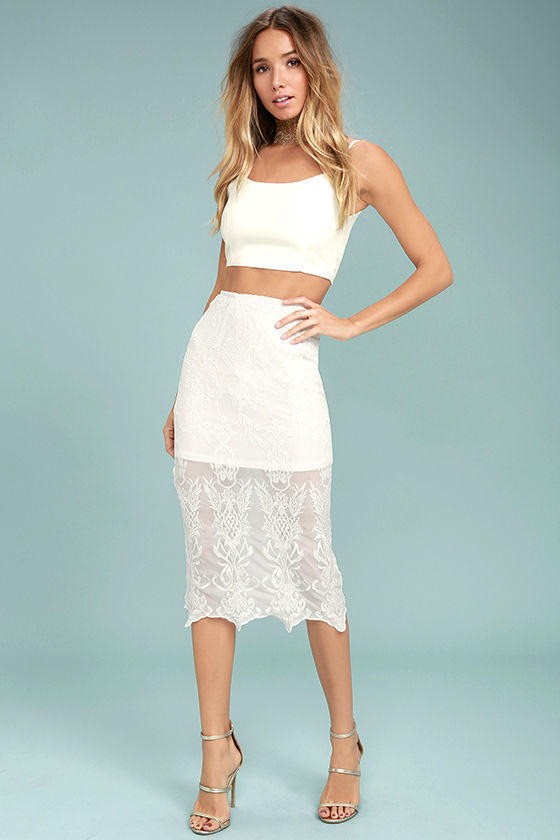 Beautiful Lace Skirt - Lace Bodycon Skirt - Embroidered Lace Skirt