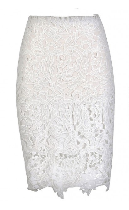 White Lace Pencil Skirt, Lace Pencil Skirt, Ivory Lace Pencil Skirt