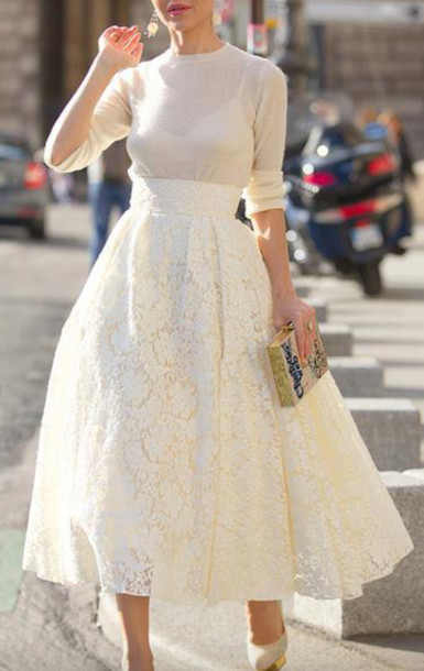 skirt, lace skirt, beige lace skirt, long wide skirt, lace, midi