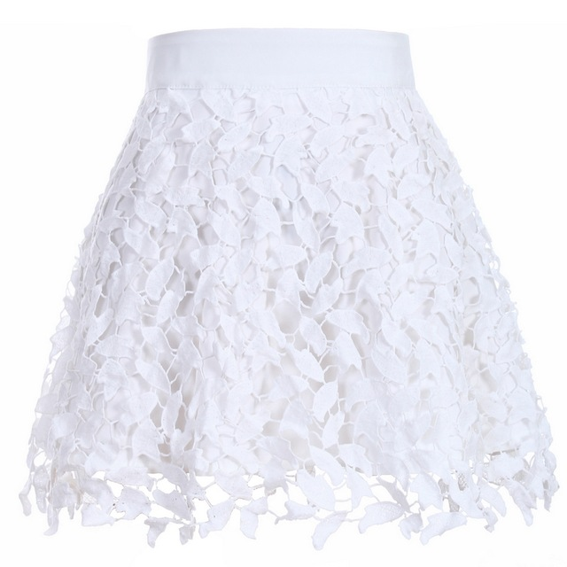 New Arrival Women's Fashion Summer Cute Solid White Lace Skirt