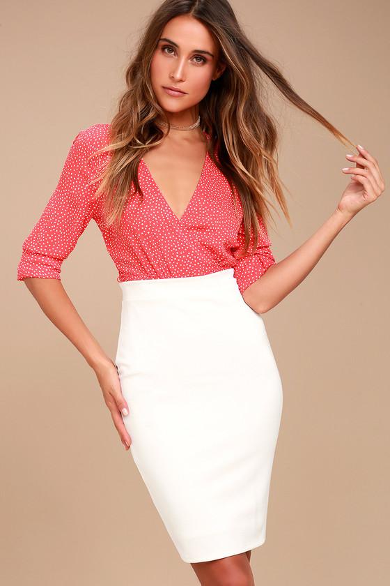 Chic Pencil Skirt - White Midi Skirt - Bodycon Skirt