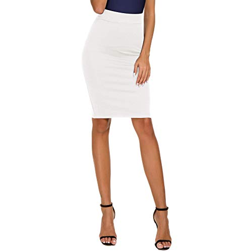 High Waist White Pencil Skirt: Amazon.com