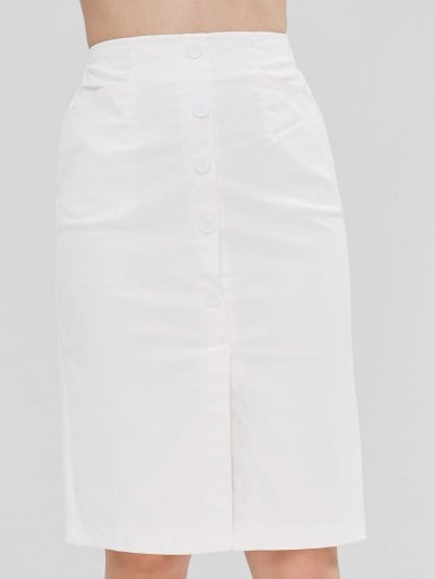 67% OFF] 2019 High Waist Buttoned Pencil Skirt In WHITE L | ZAFUL