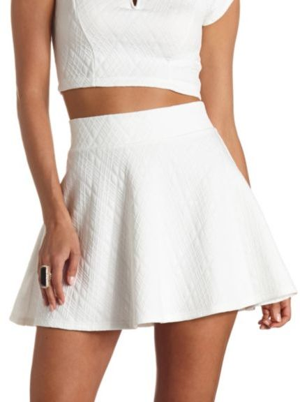 Charlotte Russe Quilted High Waisted Skater Skirt, $18 | Charlotte