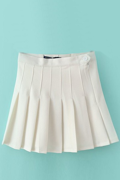 White Pleated Stylish Skater Skirt #012642 @ Skirts,Maxi Skirt