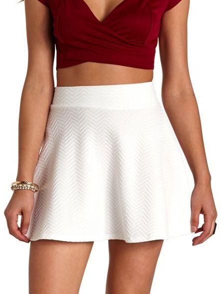 Charlotte Russe Textured Chevron Skater Skirt, $18 | Charlotte Russe