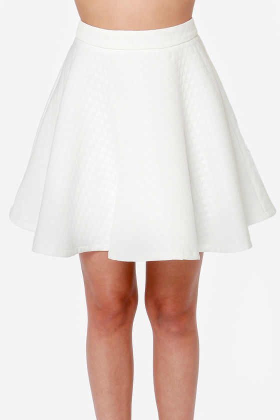 Look different with white   skater skirts