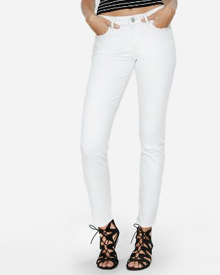 Mid Rise White Skinny Jeans   Express
