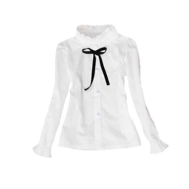 Baby Girls White Blouses Long Sleeve Flower Collar Shirts For Girls