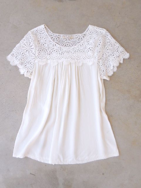 White Crochet Cotton Blouse u2026 | bluze | Pinteu2026