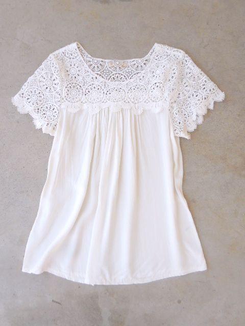 White Crochet Cotton Blouse u2026 | bluze | Pinteu2026