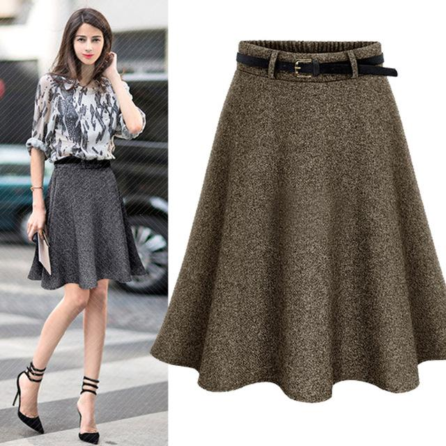 Women skirts fall and winter skirts fashion wild skirt high-waist