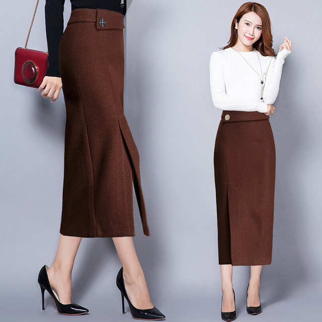 Plus Size Code Casual Pencil Skirt Women's New Autumn Winter Skirts