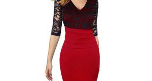 Women Dresses Mature Ruffle Vintage Vestidos V Neck Lace Top Half