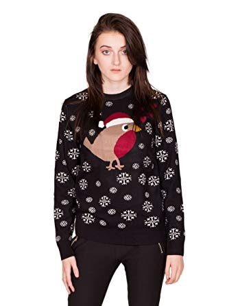 NOROZE New Womens Christmas Jumper Robin White Glitter Snowflakes +