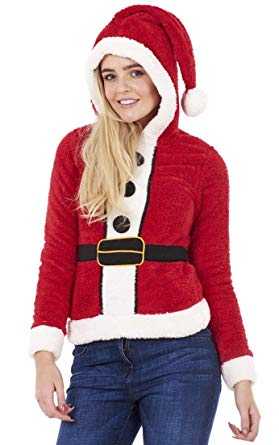 Ladies Christmas Jumper Womens Hooded Cute Santa Fleece Xmas Top