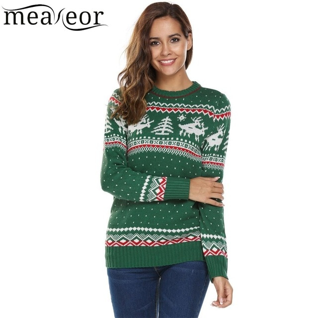 Meaneor Women Christmas Sweaters Deer Print Casual Long Sleeve