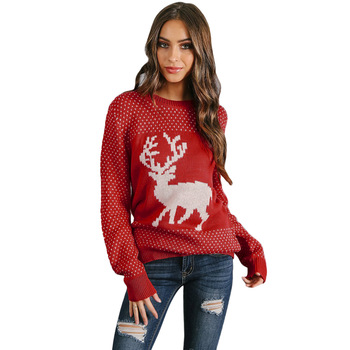 Winter Knitted Christmas Sweater Women,Ladies Long Sleeve Christmas