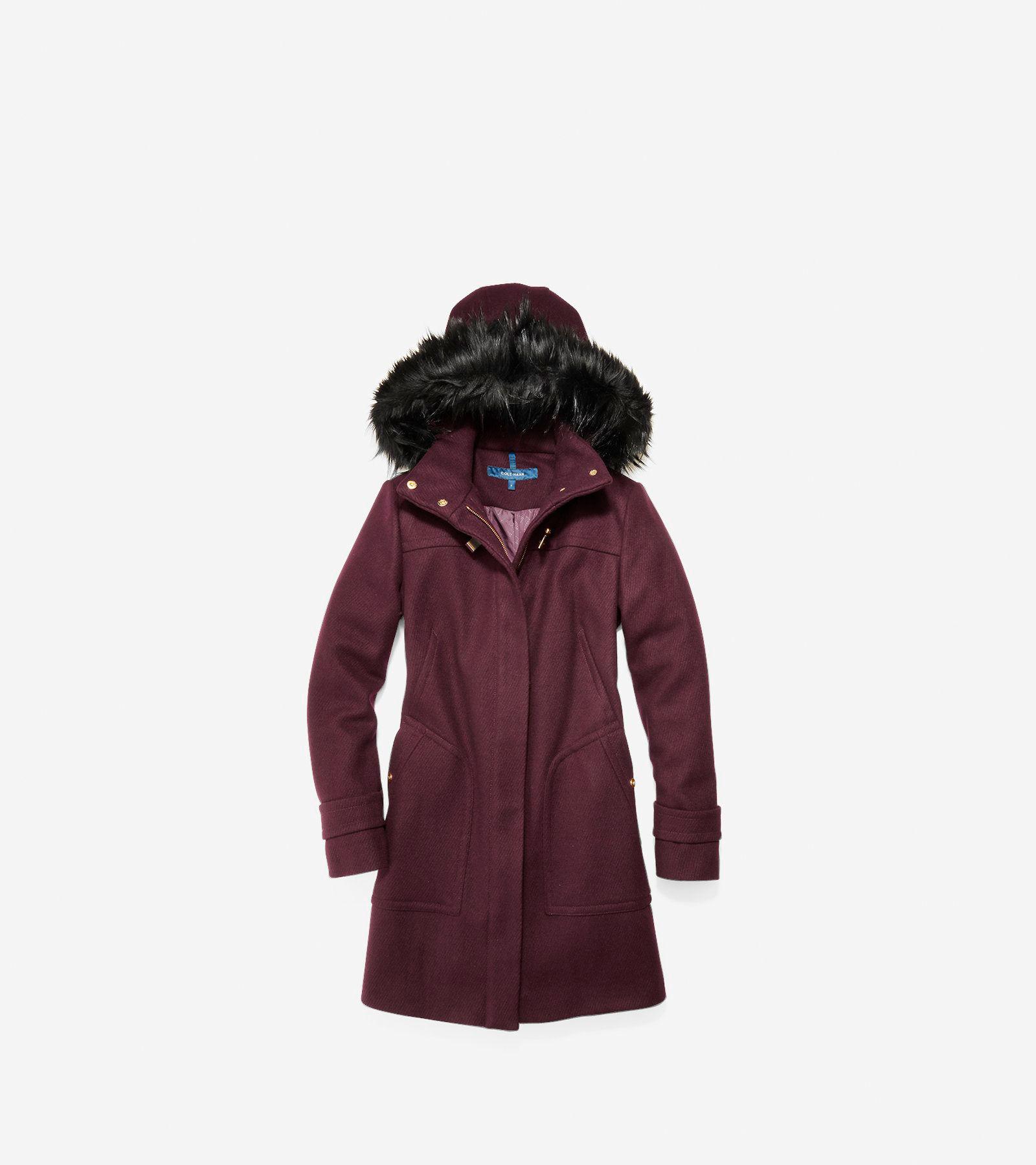 Women's Wool Twill Hooded Duffle Coat in Bordeaux | Cole Haan