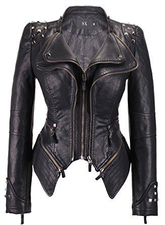 chouyatou Women's Fashion Studded Perfectly Shaping Faux Leather
