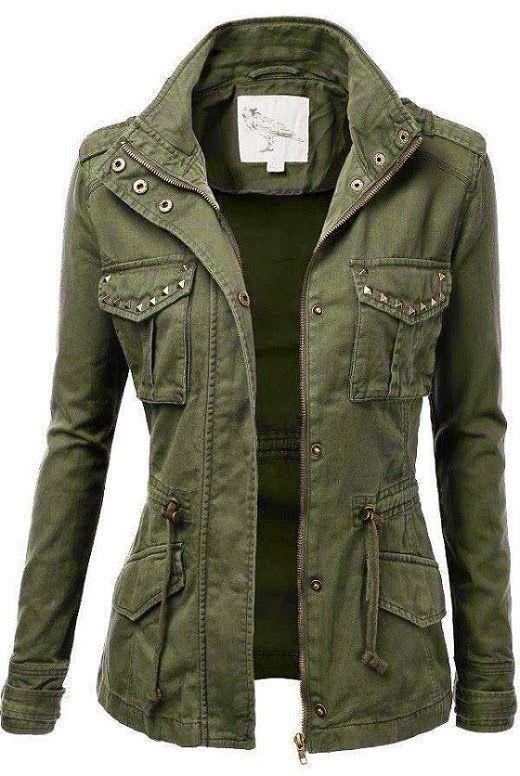Jacket with stud detailing. #women #jacket | fashion | Military