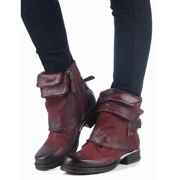 Women's Shoes - Women Vintage Buckle Rivets Ankle Motorcycle Boots
