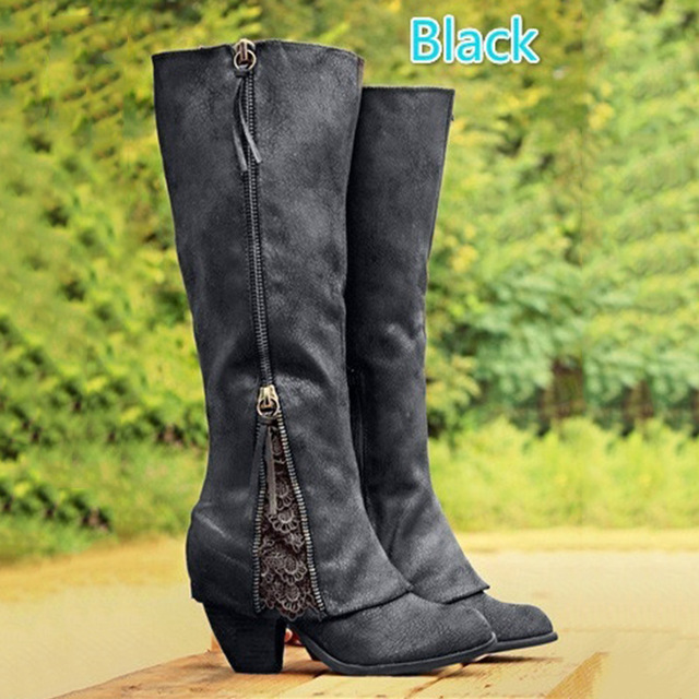 2017 NEW Women Fashion Riding Boots Fold Over Design Near Ankle with
