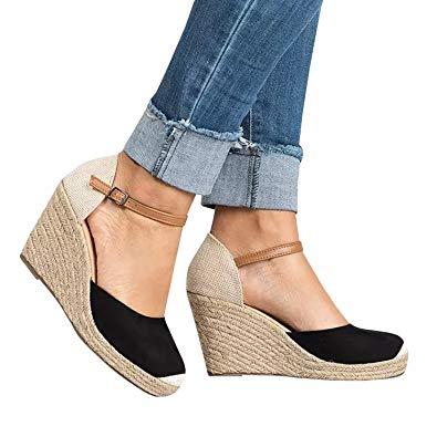 Amazon.com | Huiyuzhi Womens Wedge Sandals Ankle Strap Cap Toe