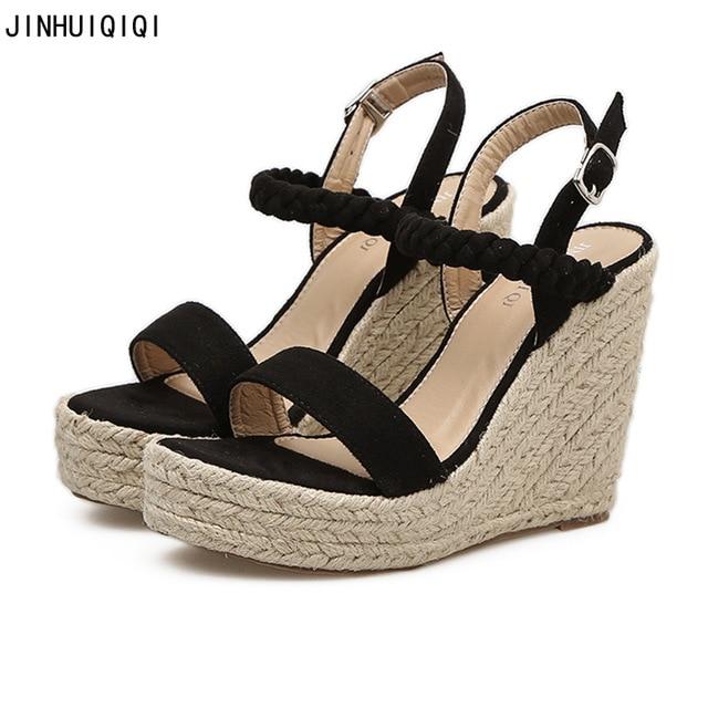 Summer Womens Wedge Sandals Fashion Linen Weaving Wedges Women