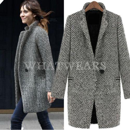 Fashion Womens Wool Coats One Button Big Lapel Wool Blend Long Pea