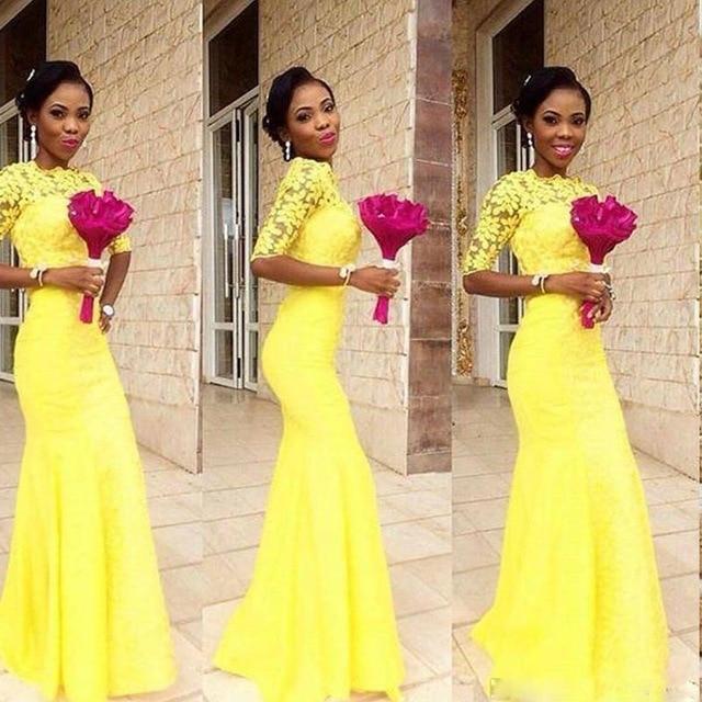 Arabic Mermaid Yellow Bridesmaid Dresses Dubai Lace Sheer Bateau