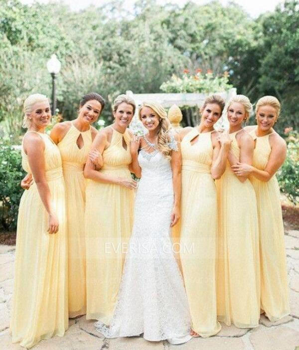 Light Yellow Sleeveless Empire Bridesmaid Dresses Best Prom Dresses