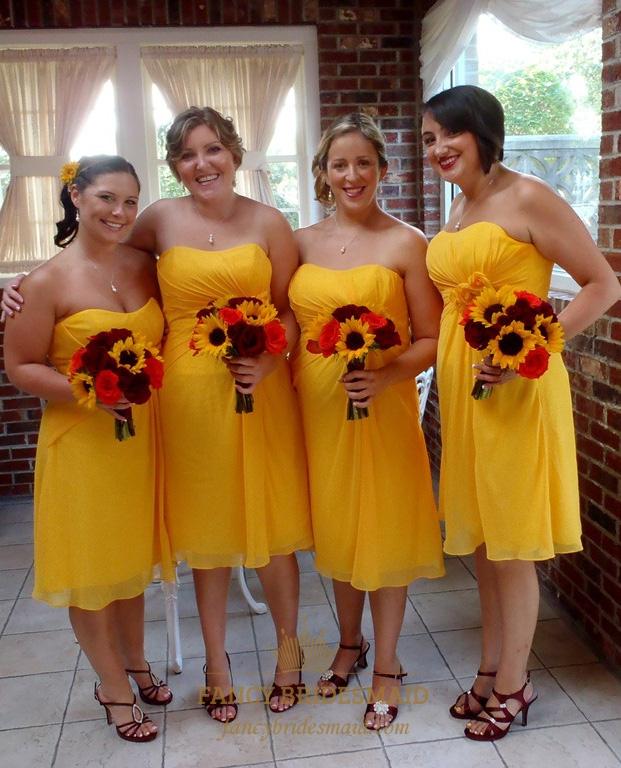 Sunflower Yellow Chiffon Strapless Empire Waist Short Bridesmaid