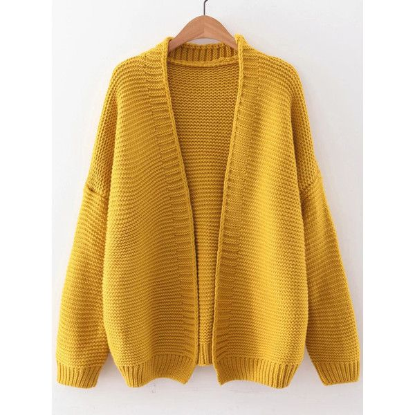 Yellow Open Front Drop Shoulder Cardigan ($36) ❤ liked on Polyvore