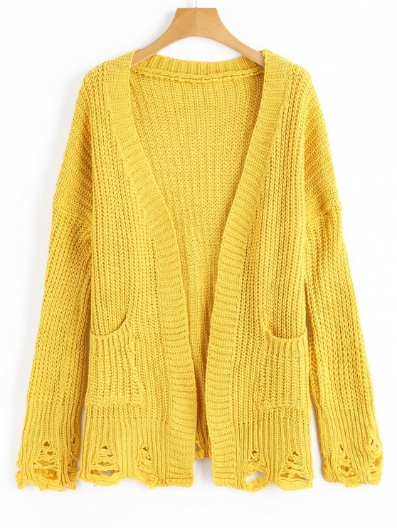 33% OFF] 2019 Ripped Pockets Cardigan In YELLOW ONE SIZE | ZAFUL
