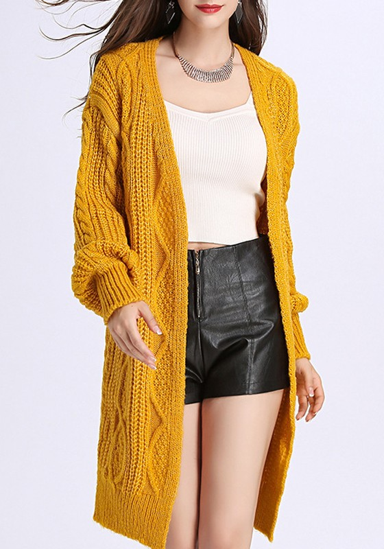 Yellow V-neck Long Sleeve Cardigan Sweater - Cardigans - Sweaters - Tops