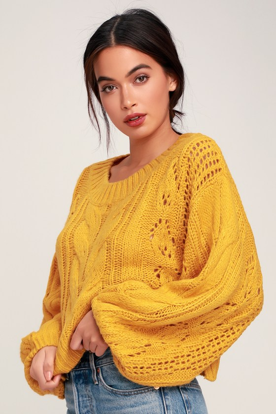 Mustard Yellow Sweater - Balloon Sleeve Sweater - Knit Sweater