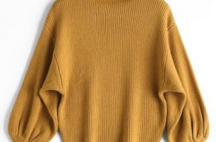 47% OFF] 2019 Lantern Sleeve Mock Neck Sweater In YELLOW ONE SIZE