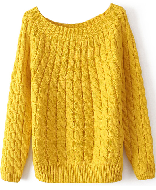 Yellow Long Sleeve Loose Cable Knit Sweater - abaday.com