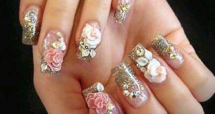 glittery 3d nail art | 3d nail designs, 3d nails, Nail desig