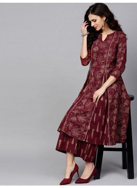 Maroon Gold Printed A-Line Kurta | Pakistani dress design, Kurta .