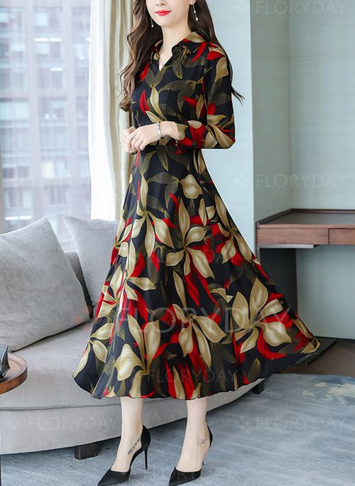 Casual Floral Shirt V-Neckline A-line Dress | Floral long sleeve .
