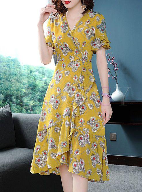 Street Chiffon Floral Print A Line Dress | A line dress, Trendy .