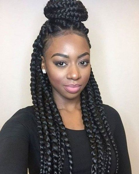 Box Braids - African American Braided Updo Hairstyle | Braided .